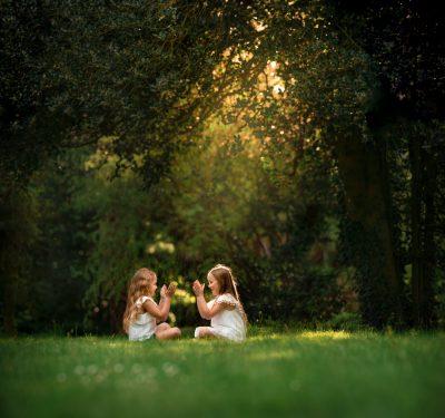 Image: Girls playing derbyshire family photographer